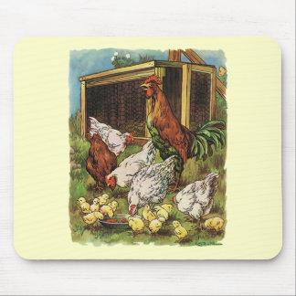Animaux de ferme vintages coq poules poulets tapis de souris