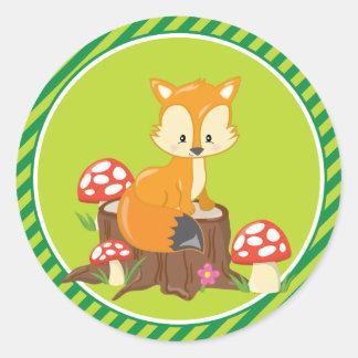 Animaux de région boisée de Fox | Sticker Rond