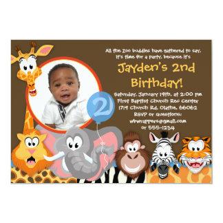 Animaux de zoo - invitation d'anniversaire carton d'invitation  12,7 cm x 17,78 cm