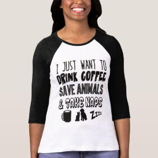 Animaux et petits sommes de café t-shirt