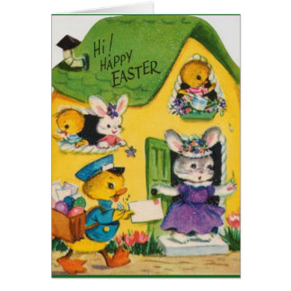 animaux heureux vintages de Pâques des années 1950 Carte De Vœux