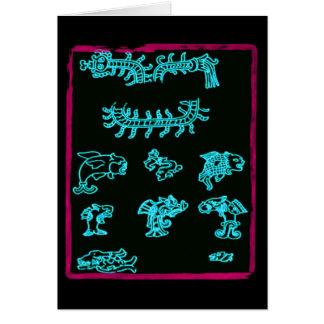 Animaux maya bleus carte de vœux