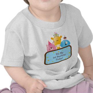 Animaux mignons d'anniversaire de bande dessinée p t-shirts