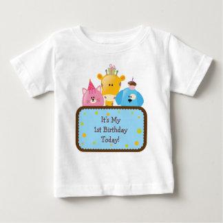 Animaux mignons d'anniversaire de bande dessinée t-shirt pour bébé