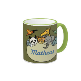 animaux personnalisés de famille de zoo tasse à café