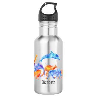 Animaux sauvages courant ensemble l'aquarelle bouteille d'eau