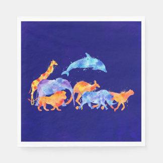 Animaux sauvages courant ensemble l'aquarelle serviette jetable