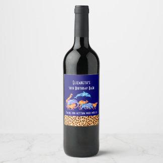Animaux sauvages et mercis d'anniversaire étiquette pour bouteilles de vin