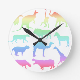 Animaux sauvages horloge ronde