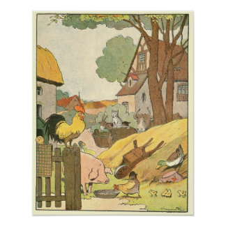 Animaux sur livre de contes de ferme affiche