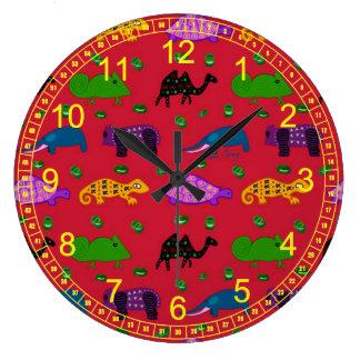Animaux - tortues pourpres abstraites et éléphants grande horloge ronde