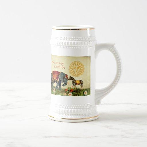 Animaux vintages de Valentine en collage d'amour Tasses À Café