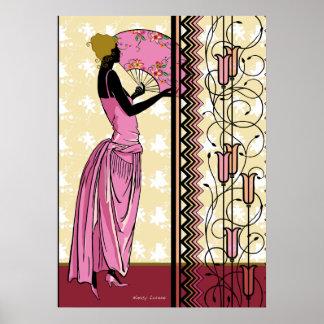 ANJANETTE : Mode d'art déco dans le rose et le jau Posters