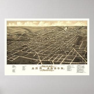 Ann Arbor, carte panoramique de MI - 1880 Posters