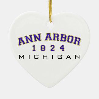 Ann Arbor, MI - 1824 Ornement Cœur En Céramique