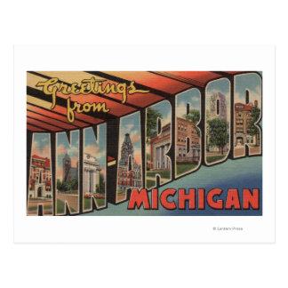 Ann Arbor, Michigan - grandes scènes de lettre Cartes Postales