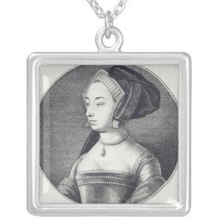 Anne Boleyn, gravé à l'eau-forte par Wenceslaus Ho Pendentif Carré
