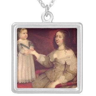Anne de l'Autriche avec son fils Louis XIV Pendentif Carré