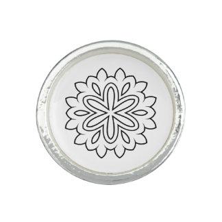 Anneau argenté avec l'art de mandala bagues avec photo