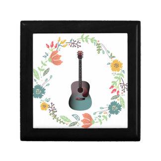 Anneau de fleur de guitare petite boîte à bijoux carrée