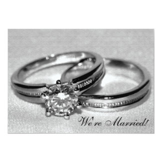 Anneau de noces de diamant réglé juste marié carton d'invitation  12,7 cm x 17,78 cm