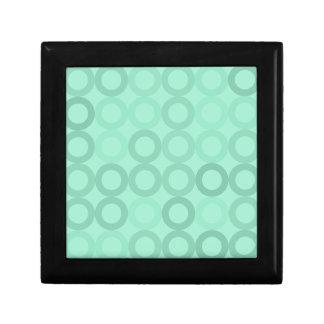 Anneaux bleu vert petite boîte à bijoux carrée