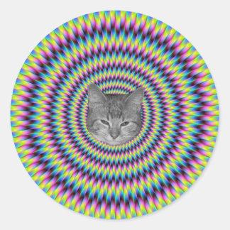 Anneaux de chat de couleur autocollant rond