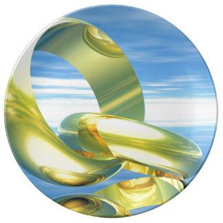 Anneaux de mariage d'or - 3D rendent Assiettes En Porcelaine