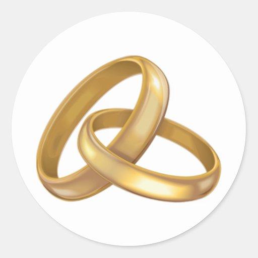 Anneaux de mariage dor entrelacés sticker rond  Zazzle