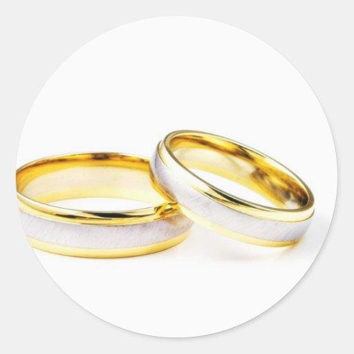Anneaux de mariage dor sur larrière - plan blanc sticker rond ...