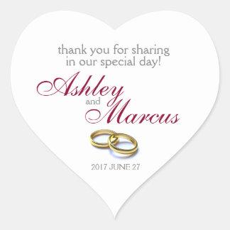 Anneaux de mariage traditionnels sticker cœur