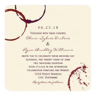 Anneaux de tache de vin du faire-part de mariage | carton d'invitation  13,33 cm