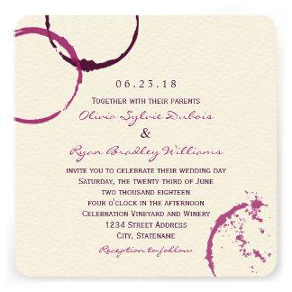 Anneaux de tache de vin du faire-part de mariage |