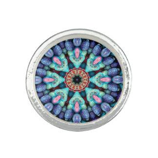 Anneaux en pierre de coutume de kaléidoscope de bague avec photo