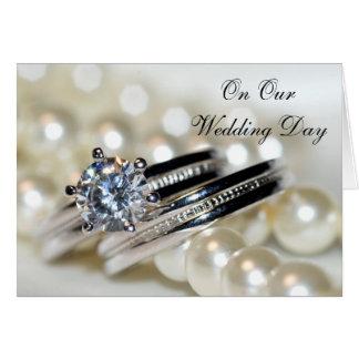 Anneaux et perles de blanc notre jour du mariage cartes