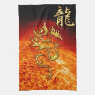 Année chinoise de la serviette asiatique de dragon serviette pour les mains