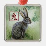 Année chinoise de zodiaque de l'ornement de lapin