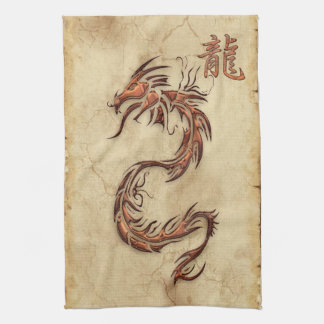 Année chinoise des serviettes d'Asiatique de drago Linges De Cuisine
