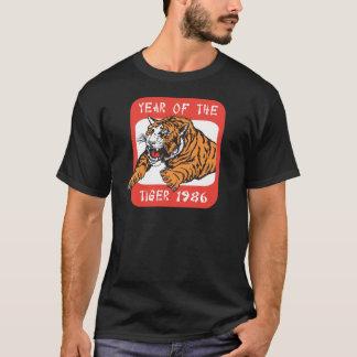 Année chinoise du T-shirts noir du tigre 1986