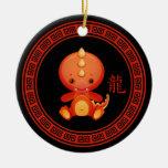 Année chinoise fleurie de l'ornement de dragon