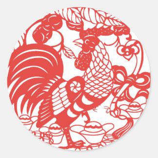 Année de coq de Papercut de Chinois autocollant de