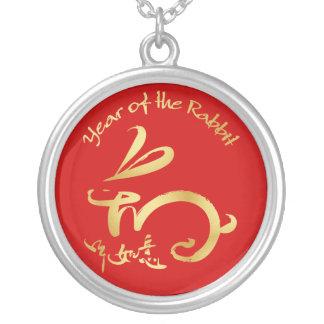 Année d'or du lapin - nouvelle année chinoise pendentif rond