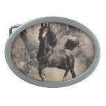 Année du cheval 2014 - art de peinture chinoise boucle de ceinture ovale