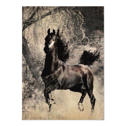 Année du cheval 2014 - art de peinture chinoise carton d'invitation  11,43 cm x 15,87 cm