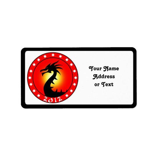 Année du dragon 2012 étiquette d'adresse