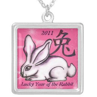 Année du lapin pendentif carré