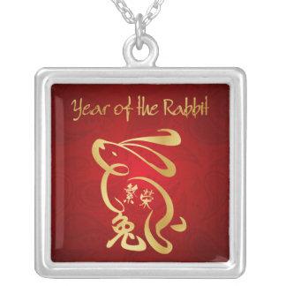 Année du lapin - nouvelle année chinoise pendentif carré