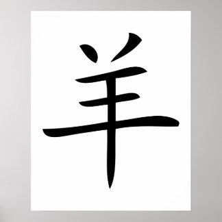 année du symbole de Chinois de moutons Posters