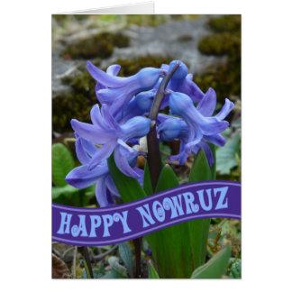 Année iranienne Nowrooz de jacinthe bleue de Cartes