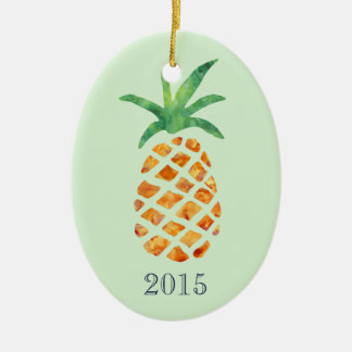 Année tropicale de souvenir de vert d'ananas ornement ovale en céramique